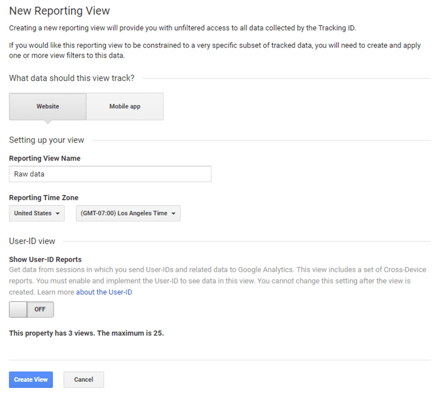Example of creating a new reporting view without filters in Google Analytics