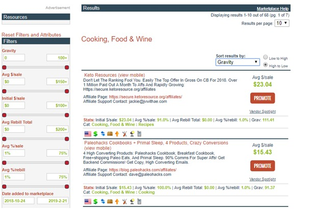 snapshot of the search results page and filters
