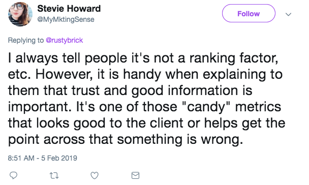Screenshot of Stevie Howard's tweet in response to a Marketing Land tweet about the new DA
