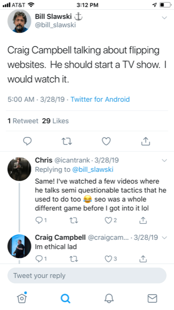 Bill Slawski's tweet about Craig Campbell's website flipping skills