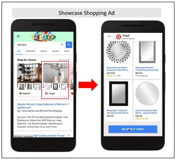 Example of a showcase shopping ads