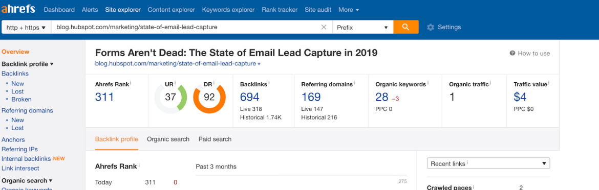 ahrefs example of using research content to improve link building