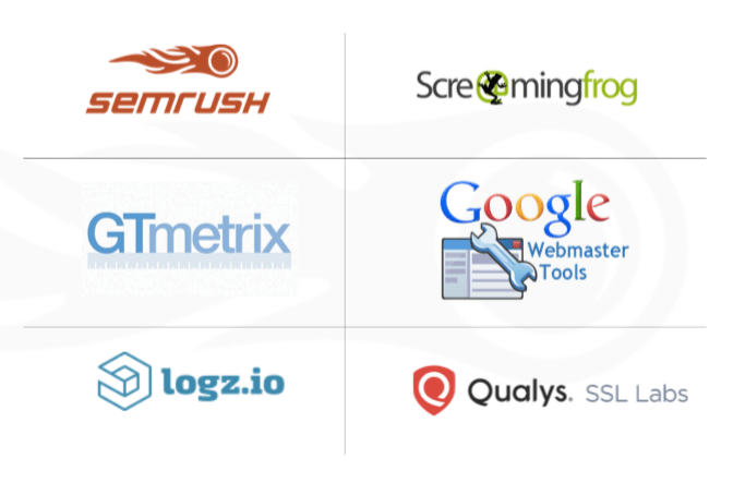 A graphic containing logos from six different SEO tools: semrush, Screaming Frog SEO, GTmetrix, Google Webmaster Tools, logz.io, and Qualys.