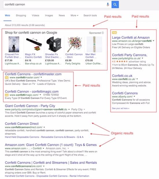 recherche de canons à confettis montrant des résultats organiques et payants