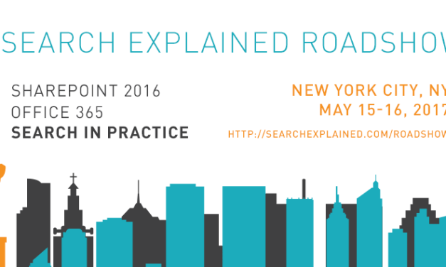 SharePoint 2016 and Office 365 Search in Practice – Workshop in New York City, May 2017