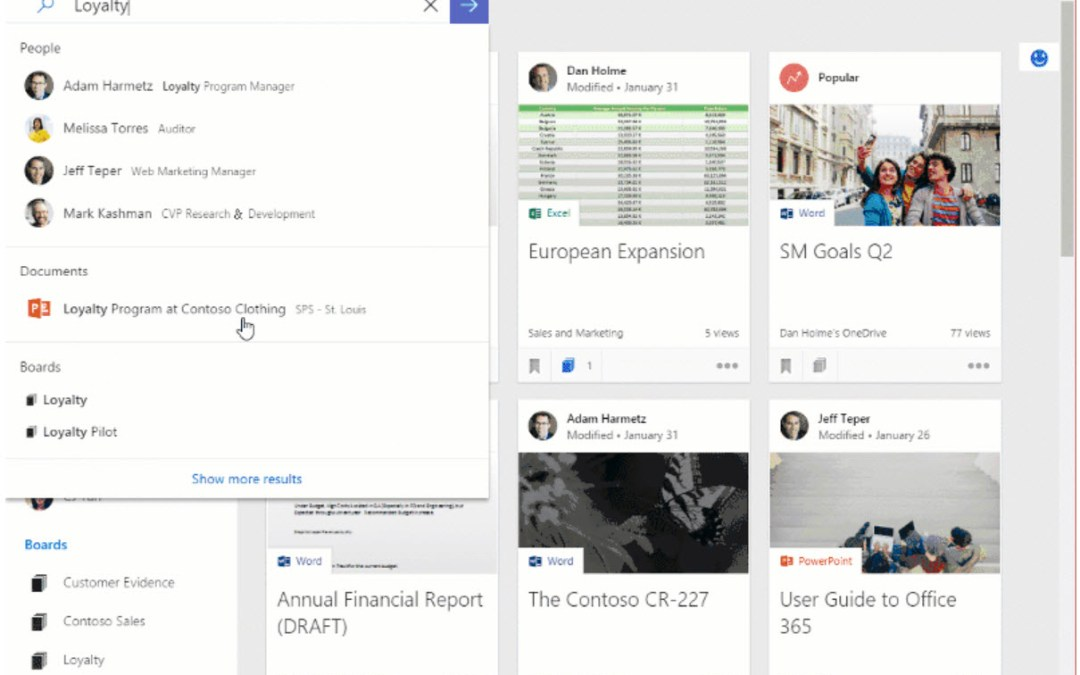 Intelligence-powered, personalized search in Office 365