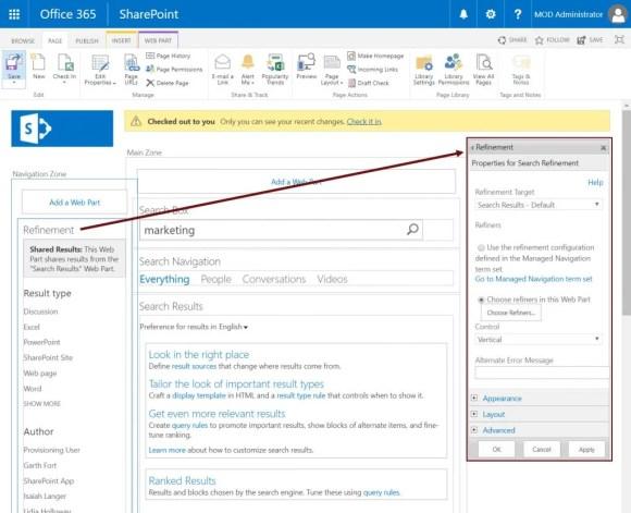 Edit SharePoint refinement web part properties