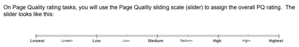 Page quality slider