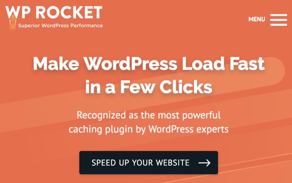 WP rocket home page screenshot