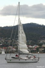 Magic Miles dropping her sail as she's approaching Constitution Dock up the Derwent River in Hobart to drop the two runners off for the last leg of running (up Mount Wellington and back)