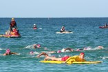 Swimmers and surf lifesavers in a 10km open water swim my husband took part in at Sorrento beach north of Perth, Western Australia