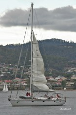 Magic Miles coming up the Derwent and dropping her sails about to dock in Hobart
