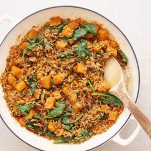 wild mushroom squash and spinach pilaf #CookOnceEatTwice