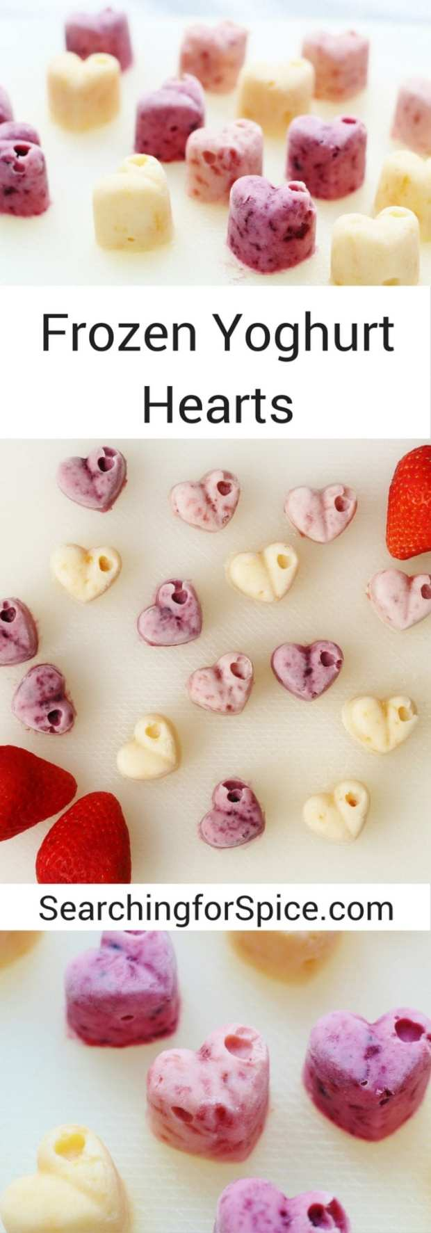 Frozen Yoghurt Hearts. Perfect sweet frozen treat for Valentine's Day and fun and easy to make with your children