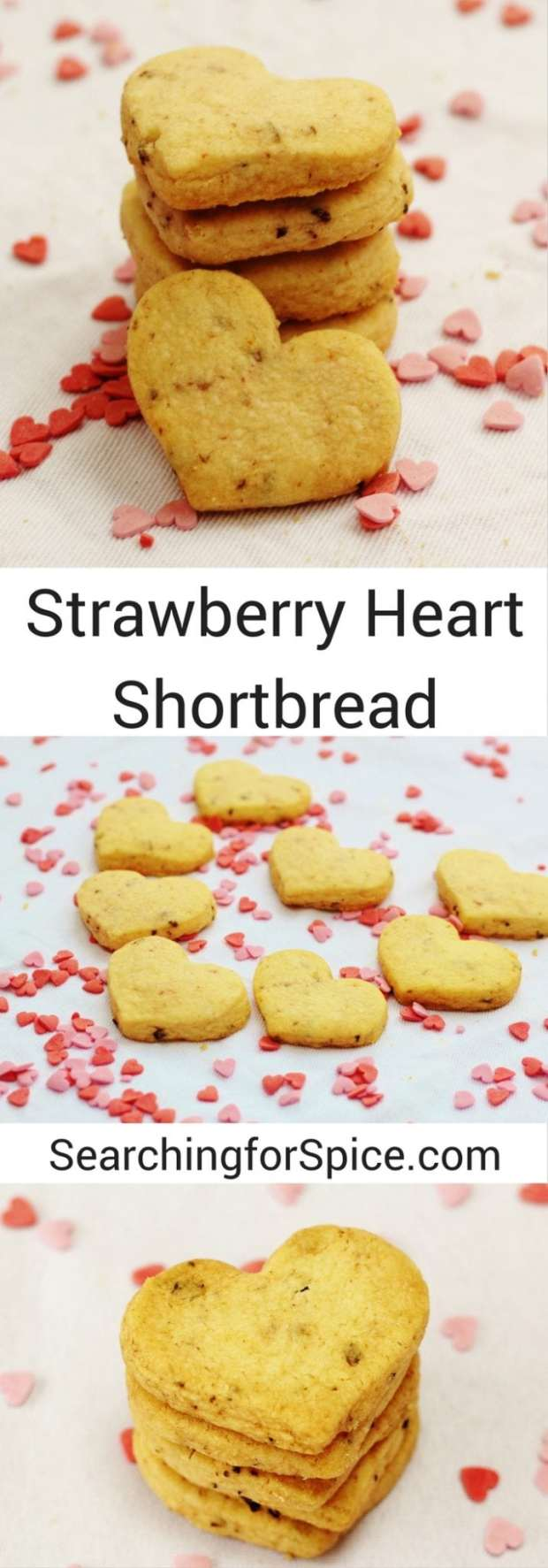 Strawberry Heart Shortbread Biscuits. These cute cookies are perfect as a sweet bite-sized snack or why not give as a gift?