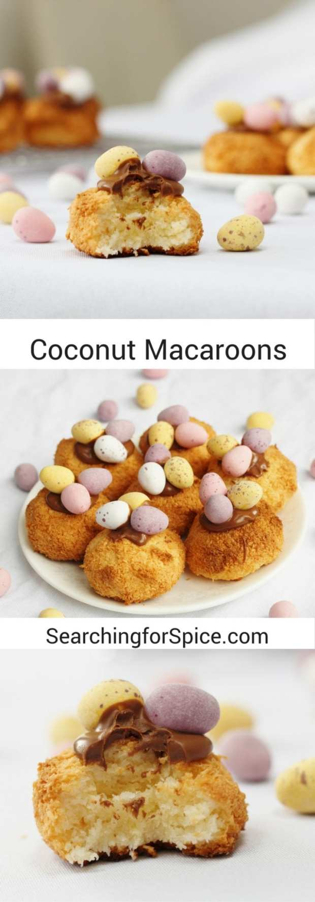 Coconut macaroons topped with melted chocolate and mini eggs. The perfect easy Easter bake to make with and for your children. Coconut macaroon nests