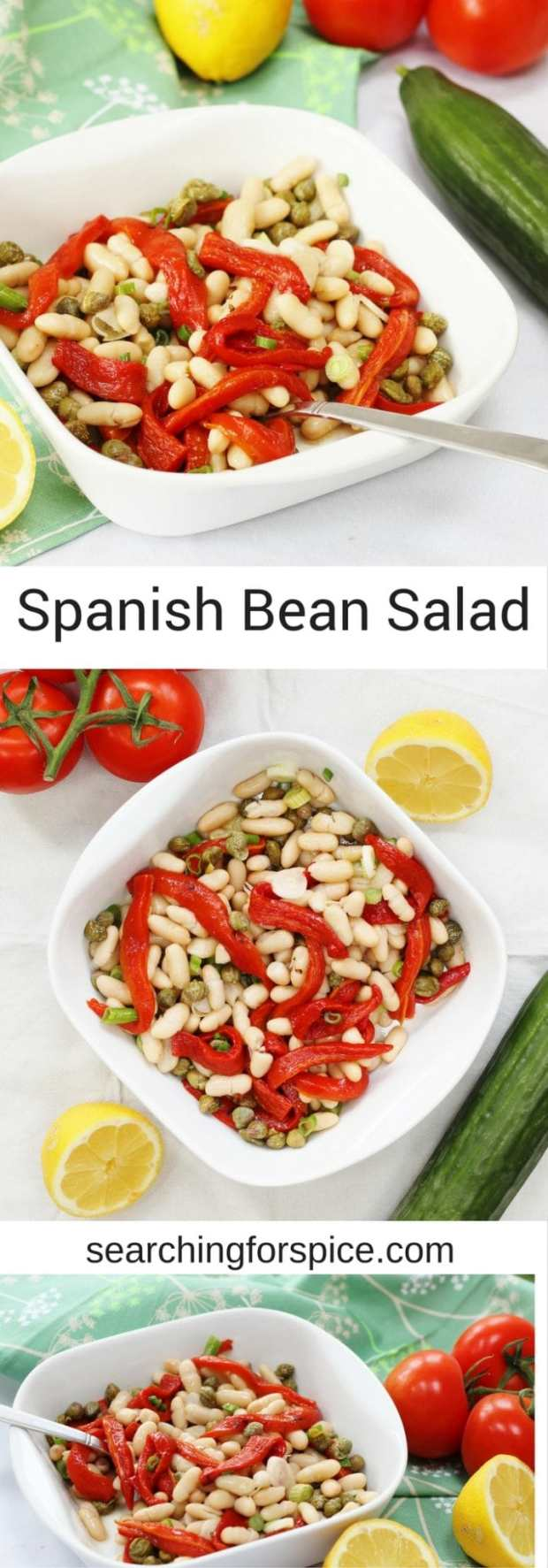 Delicious vegan recipe for a Spanish bean salad with red peppers, capers and spring onions. Made with store cupboard ingredients it's quick and easy make too