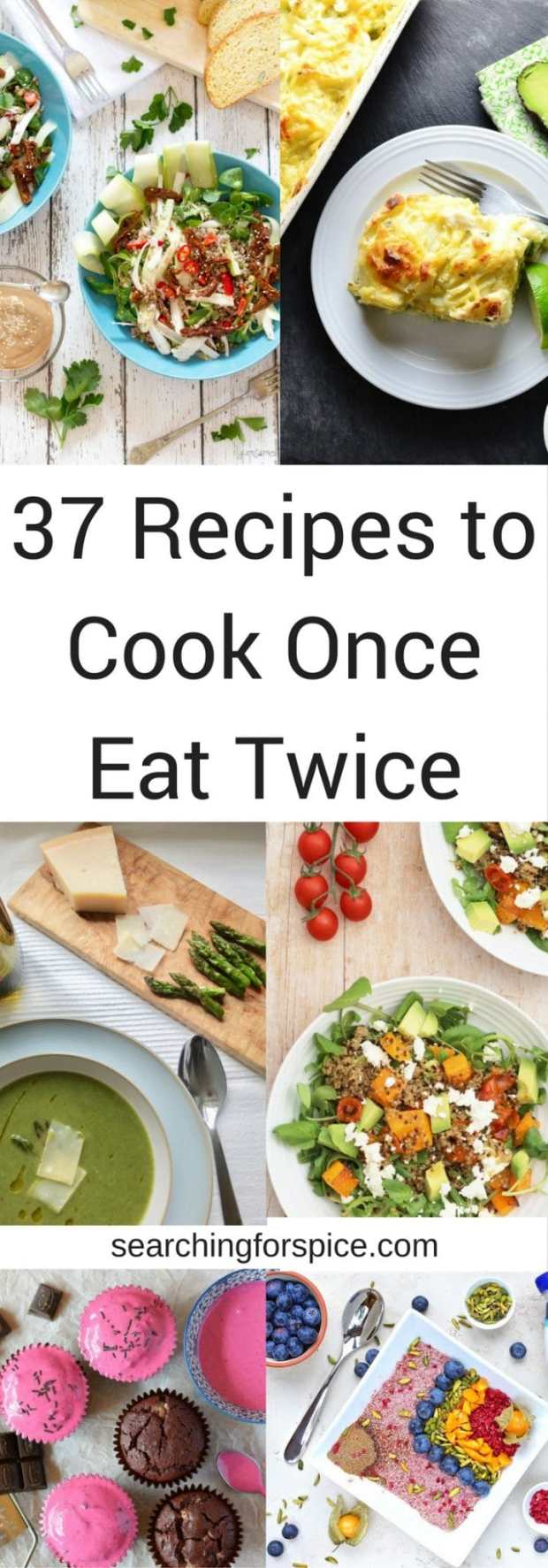 37 recipes that fit the cook once eat twice theme. Collection of savoury and sweet recipes, meat-based as well as vegetarian and vegan ideas. Come and get some meal planning inspiration