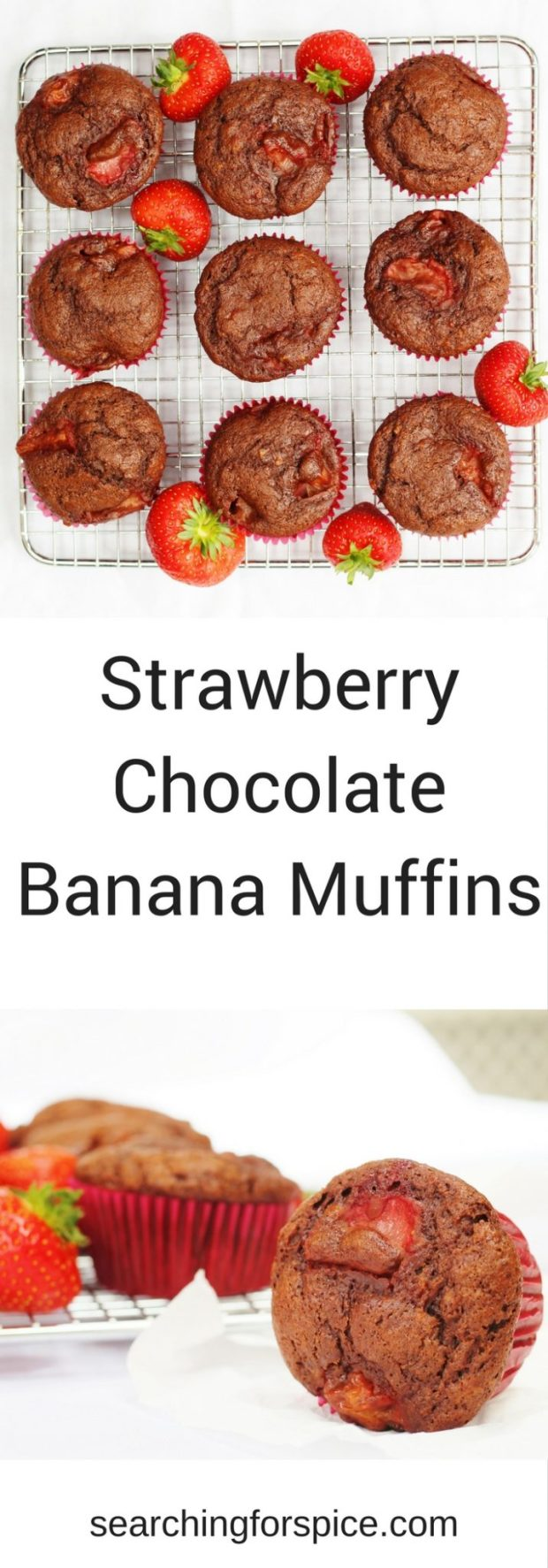 These strawberry chocolate banana muffins make a healthy sweet treat for an afternoon snack or dessert. Serve warm with yoghurt, cream or custard or delicious cold too. It's a recipe you and your kids will love.