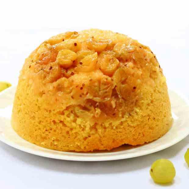 Slow cooker gooseberry steamed sponge pudding