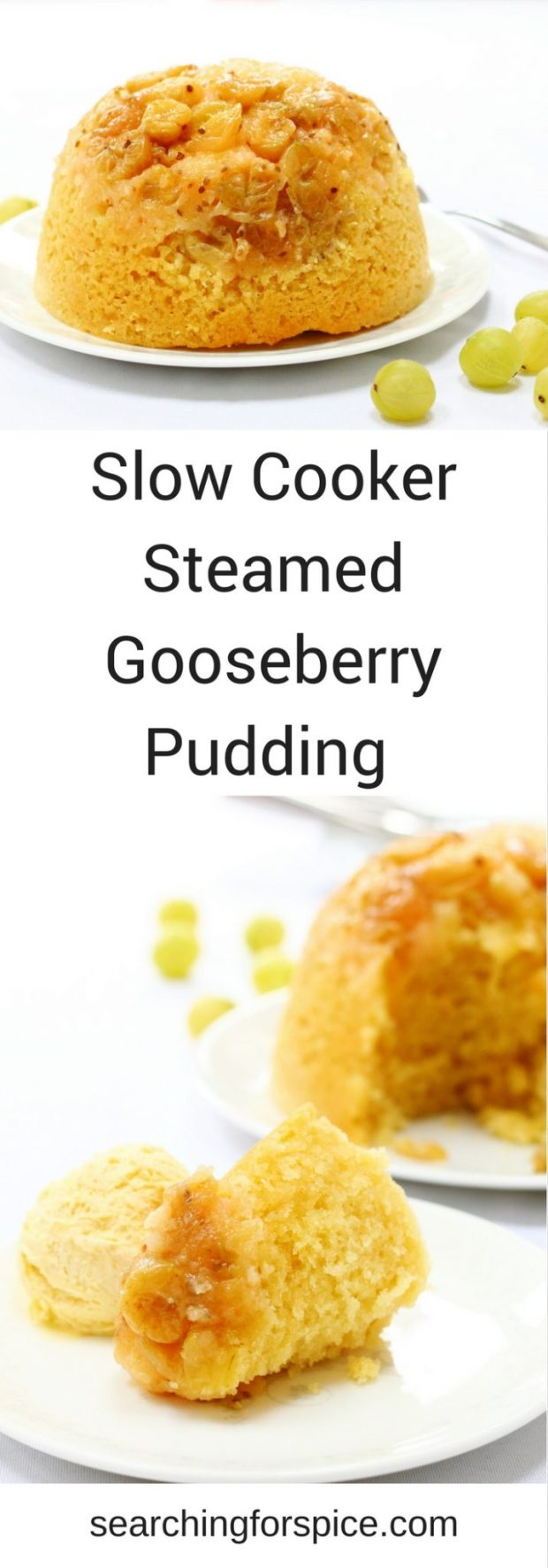 Comforting recipe for a slow cooker steamed gooseberry pudding. Perfect to make in summer with seasonal fruit as the slow cooker won't heat up your kitchen. If you can't find gooseberries, just replace with other seasonal fruit such as apples, plums or cherries.