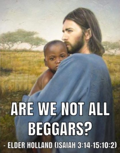 """""""Are We Not All Beggars"""" Christ holding an African Child Meme"""