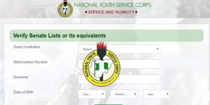 List Of Institutions Whose Senate List Is Out On NYSC Portal