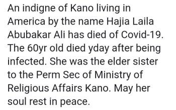 Laila Abubakar Ali Dies Of Coronavirus In USA