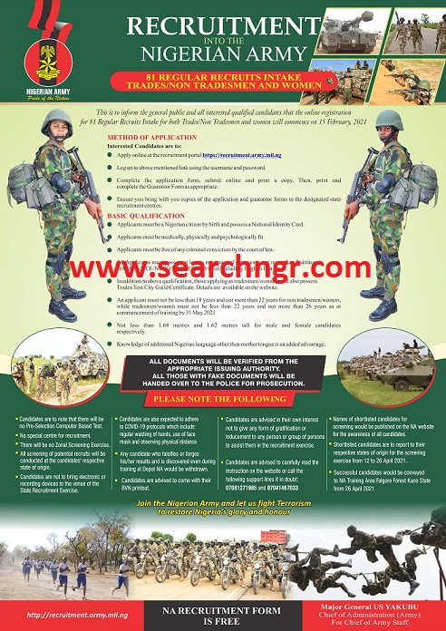 Nigerian Army Recruitment 2021 Begins - to apply go to recruitment.army.mil.ng