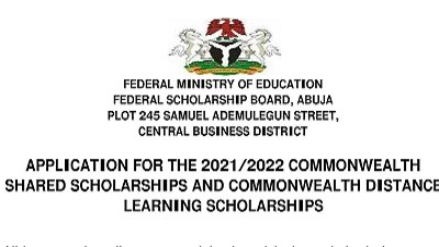 Apply for Nigeria Federal Government Scholarship 2021/2022 - Commonwealth