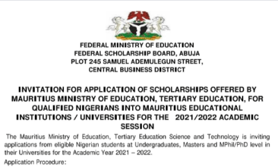 Call for Application: 2021/2022 Application for Scholarships Offered by Mauritius Ministry of Education
