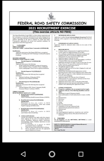 Federal Road Safety Recruitment 2021 Begins (How to Apply) 1