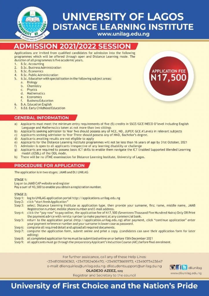 UNILAG Part-Time (DLI) Admission Form 2021 / 2022 Session Commenced 1