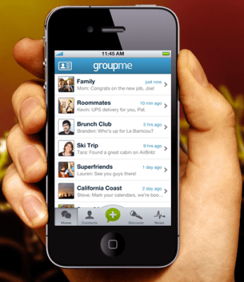 GroupMe App on iPhone in Hand