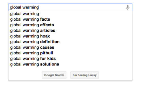 google autosuggest example for global warming search