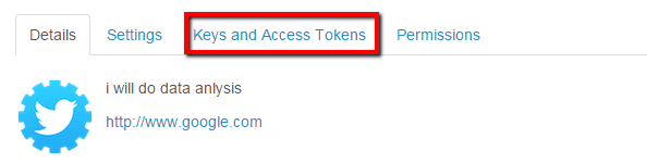 keys and access tokens twitter api tab