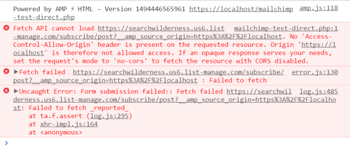direct posting amp form to mailchim chrome developer tools fail