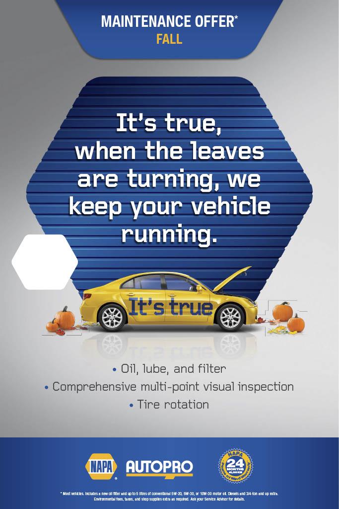 Fall Maintenance promotion napa