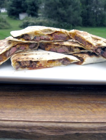 Beef Quesadilla with guajillo chili sauce