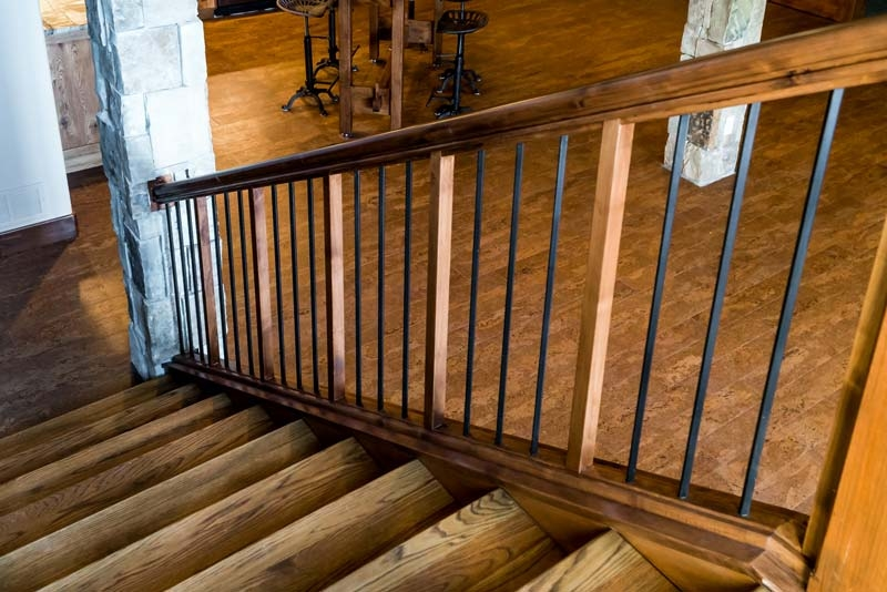 Stair Components Residential Contractor Supplies Sears Trostel | Live Edge Stair Treads | Stained | Build In Bench | Douglas Fir | Dark Risers | Barnwood