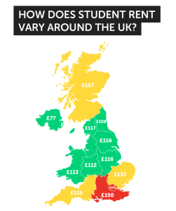 Student rent around the UK
