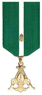 Sea Scouter Training Award (medal BSA logo hanging from a green ribbon with a thin white stripe int he middle and a miniature metal Sea Scouting logo pin in the middle)