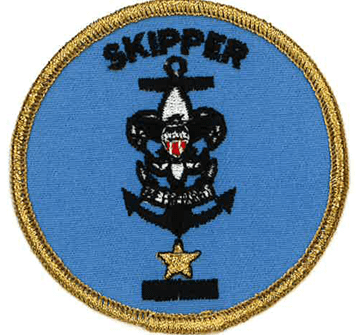 Skipper position badge with a gold star added below the Sea Scouting logo.