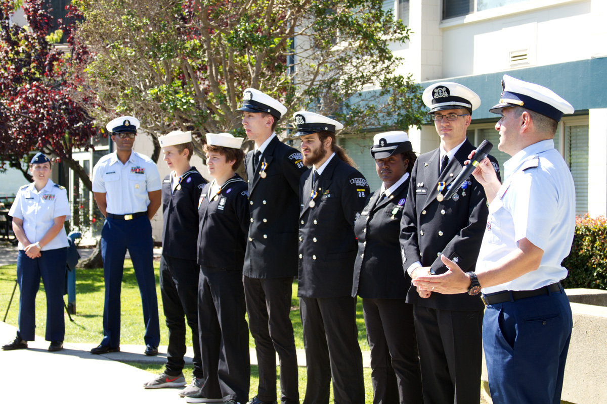Captain Anthony J. Ceraolo, Coast Guard Sector San Francisco Commander,  recognizing the crew of the Sea Fox, Ship 9, Alameda, California, at the  25th Safety ...