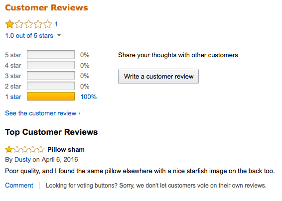 My comment on the stolen pillow design at Amazon.