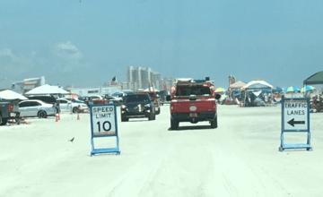 crowded beach drive on