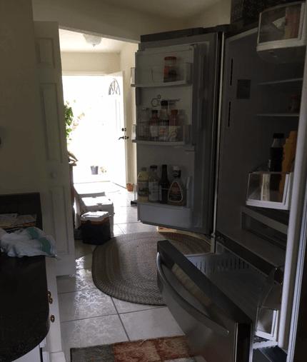 no power, refrigerator open