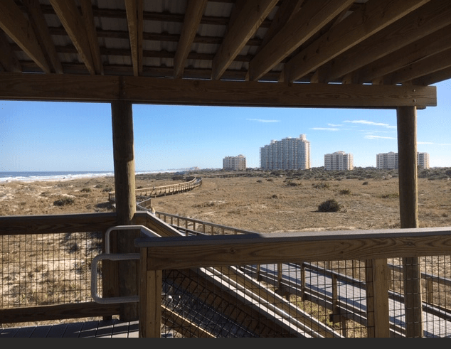 View south from the pavilion toward the condos.