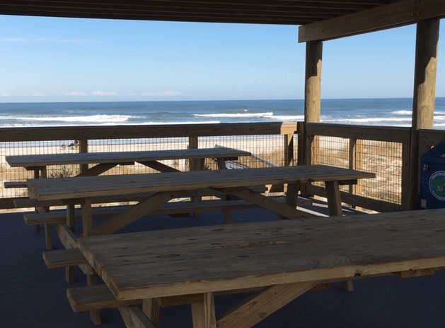 View of the beach from the second story of the pavilion in New Smyrna Beach.
