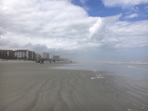 New Smyrna Beach at low tide near the 27th Street access ramp.